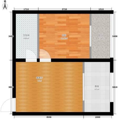 豪景南苑1室1厅1卫1厨50.00㎡户型图