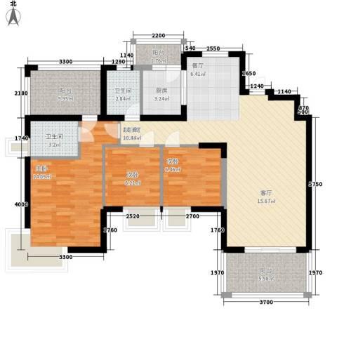 明瑜恒康佳苑3室0厅2卫1厨95.00㎡户型图