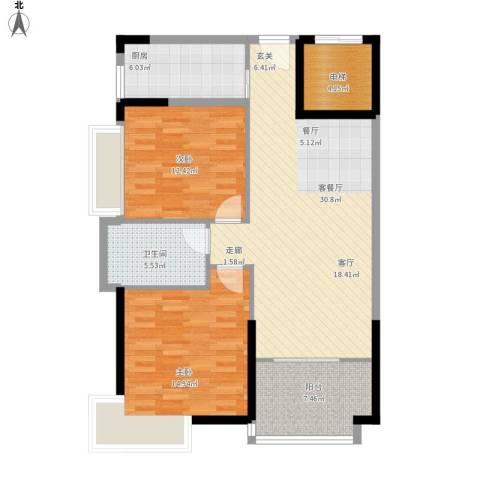 新世纪可居2室1厅1卫1厨114.00㎡户型图