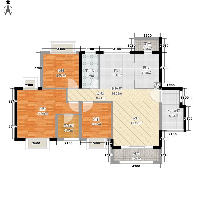 金龙居141.39㎡4-6栋2-16标准层04单元3室户型