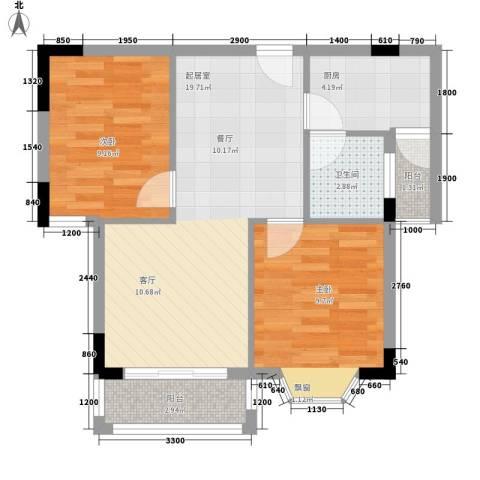 水利学院宿舍2室0厅1卫1厨71.00㎡户型图