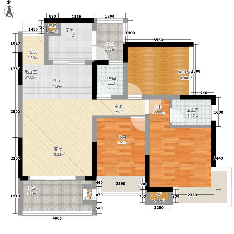 翡翠山河101.74㎡翡翠山河15、16、17座04房2室2厅2卫101.74㎡户型2室2厅2卫