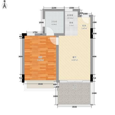 中信博鳌千舟湾1室0厅1卫0厨67.00㎡户型图