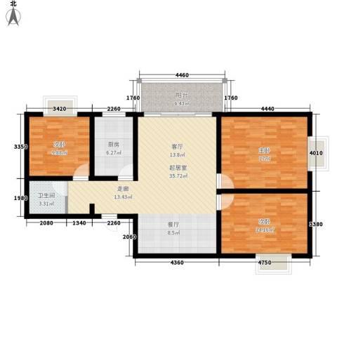 百合花园二期3室0厅1卫1厨105.00㎡户型图