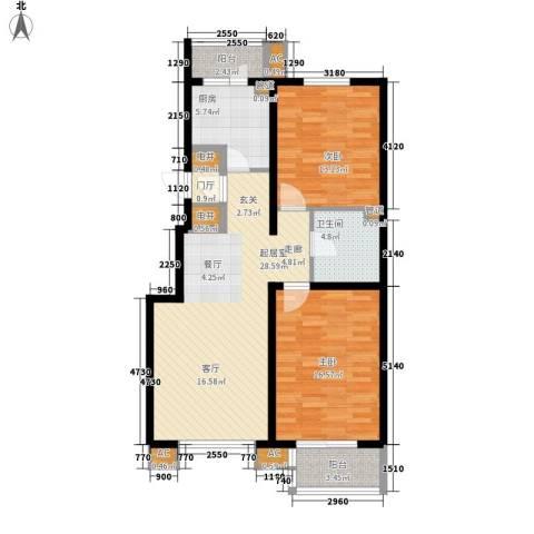 陶然居2室0厅1卫1厨91.00㎡户型图