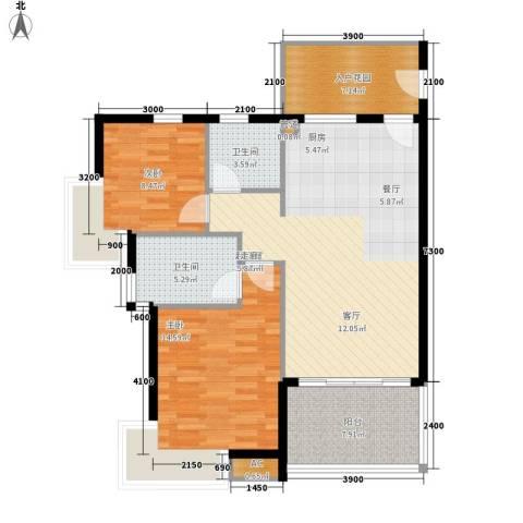 中信博鳌千舟湾2室0厅2卫0厨108.00㎡户型图