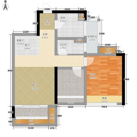 乐湾首府1室1厅1卫1厨69.00㎡户型图