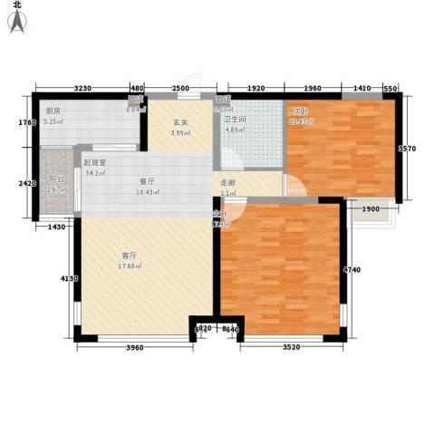 绿地塞尚公馆2室0厅1卫1厨87.44㎡户型图