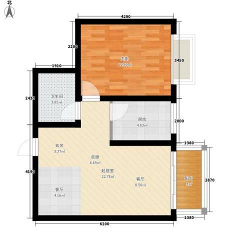 百合花园二期1室0厅1卫1厨54.00㎡户型图