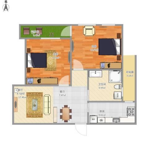 保亿风景九园二期2室1厅1卫1厨77.00㎡户型图