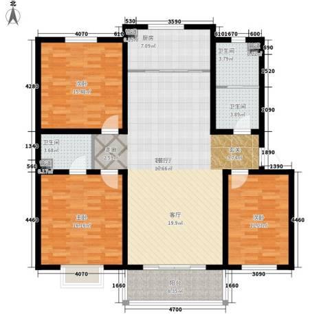 杰岛名城3室1厅3卫1厨128.00㎡户型图
