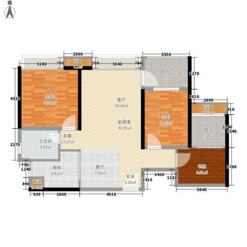 海棠村3室0厅1卫1厨120.00㎡户型图