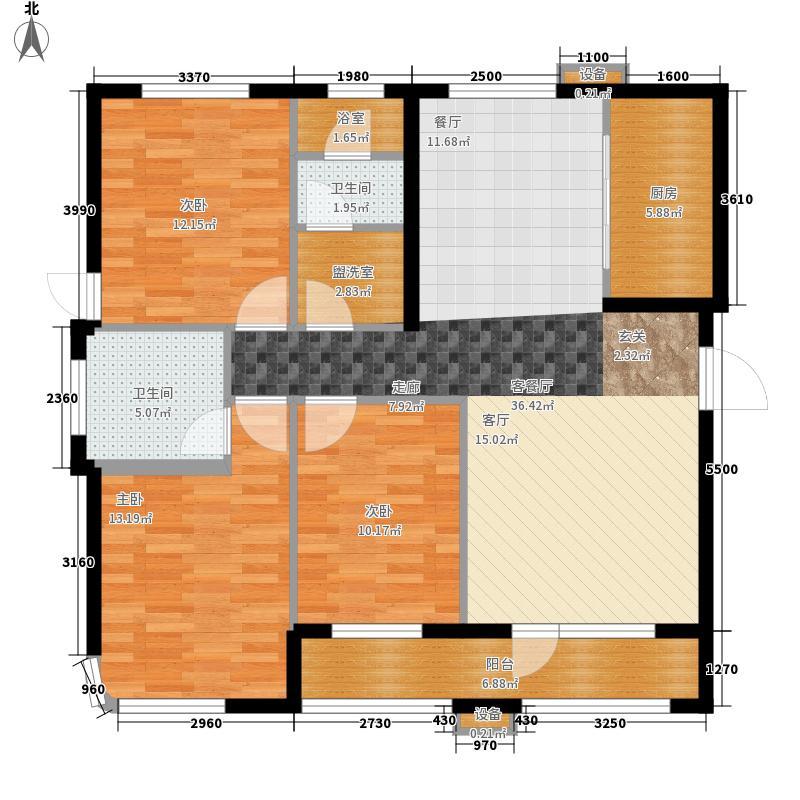 远洋自然138.00㎡远洋自然户型图8号、9号楼A户型3室2厅2卫1厨户型3室2厅2卫1厨