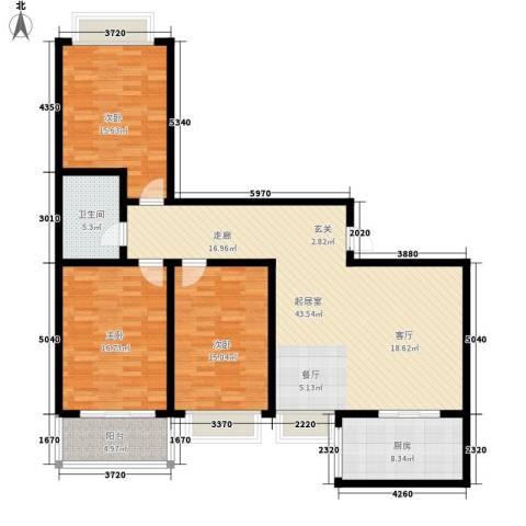 百合花园二期3室0厅1卫1厨124.00㎡户型图