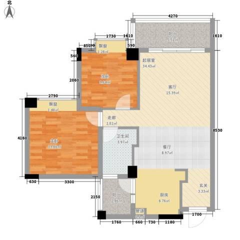 南沙玫瑰花园2室0厅1卫0厨80.00㎡户型图