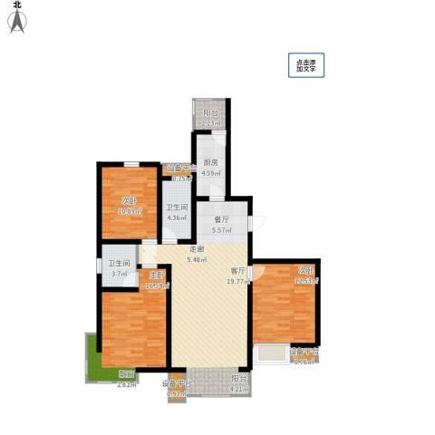 华城领秀3室1厅2卫1厨131.00㎡户型图