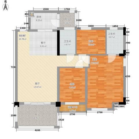 华南碧桂园翠宏台3室1厅2卫1厨128.00㎡户型图