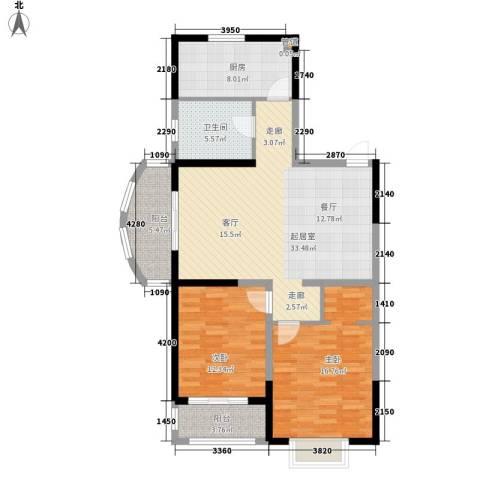 吟春园2室0厅1卫1厨95.00㎡户型图
