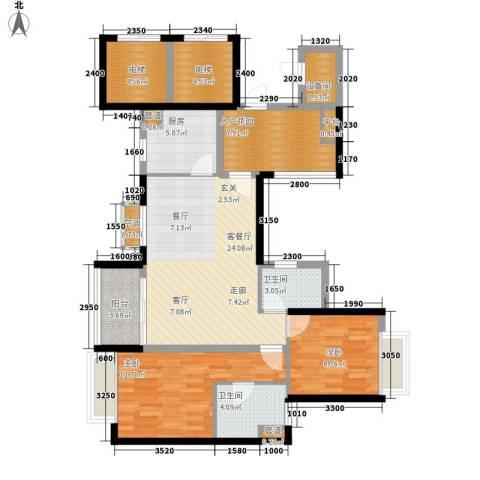 嘉信城市花园五期2室1厅2卫1厨90.00㎡户型图