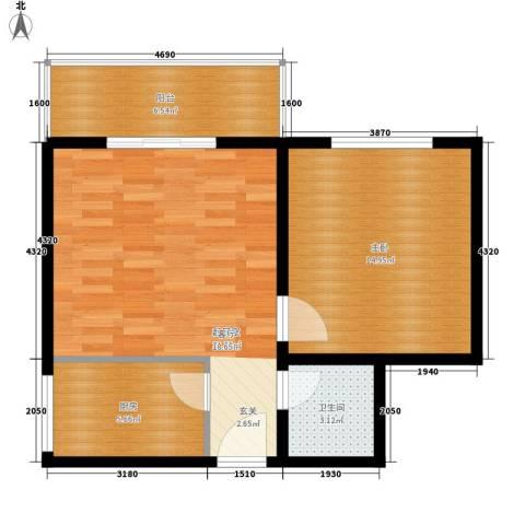 长丰园项目1室0厅1卫1厨58.00㎡户型图