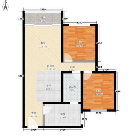 金坤花园2室0厅1卫1厨76.00㎡户型图