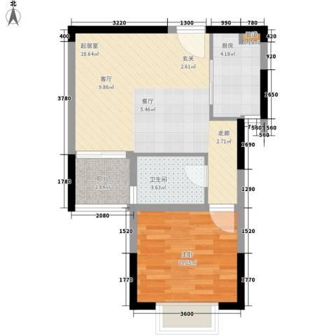 城市驿站1室0厅1卫1厨41.68㎡户型图