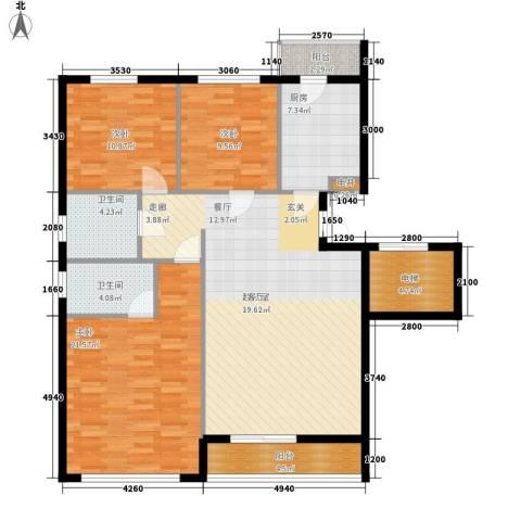 汪塘北村3室0厅2卫1厨105.71㎡户型图