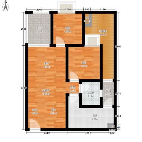 德盈华庭2室1厅1卫1厨98.00㎡户型图
