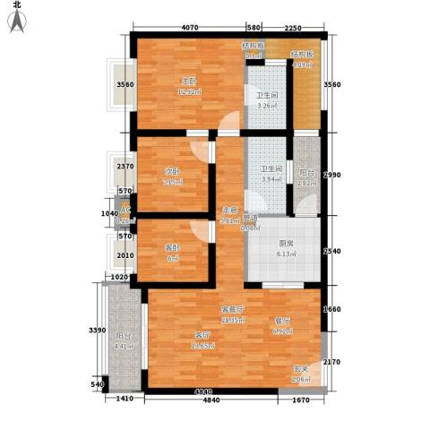 德盈华庭3室1厅2卫1厨117.00㎡户型图