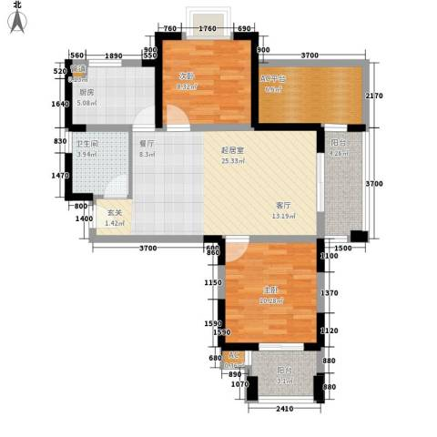 幸福大街2室0厅1卫1厨75.00㎡户型图