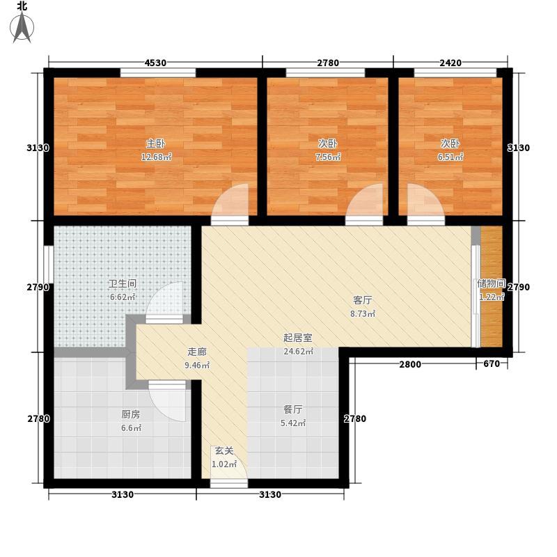芳景阁75.00㎡芳景阁3室户型3室