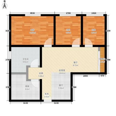芳景阁3室0厅1卫1厨75.00㎡户型图