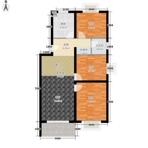 枫情国度尚园3室0厅1卫1厨92.25㎡户型图
