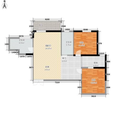 龙记帝景湾2室1厅2卫1厨114.00㎡户型图