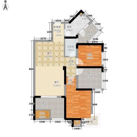 幸福大街2室0厅1卫1厨89.00㎡户型图