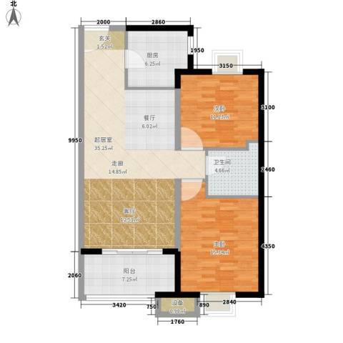 建大花园2室0厅1卫1厨114.00㎡户型图
