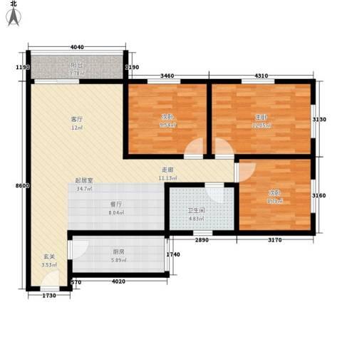 芳村大道西小区3室0厅1卫1厨90.00㎡户型图