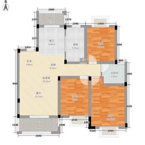博威香槟小镇3室0厅1卫1厨128.00㎡户型图