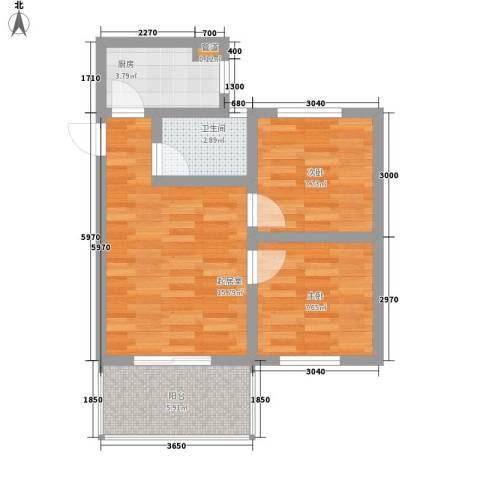 伴山丽景2室0厅1卫1厨54.00㎡户型图