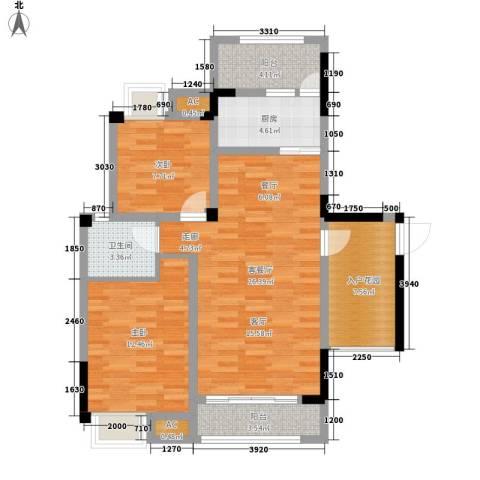福康瑞琪曼国际社区2室1厅1卫1厨104.00㎡户型图