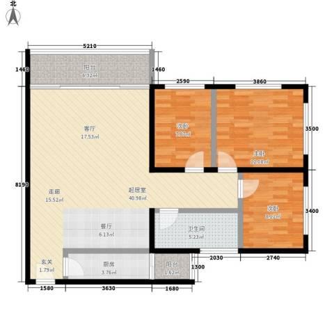 芳村大道西小区3室0厅1卫1厨97.00㎡户型图