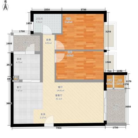 嘉信城市花园五期2室1厅1卫1厨93.00㎡户型图