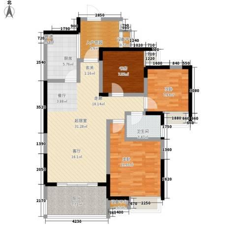 蜀麓苑3室0厅1卫1厨123.00㎡户型图