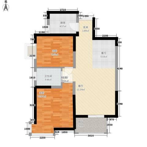 龙记帝景湾2室1厅1卫1厨90.00㎡户型图