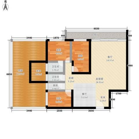 隆基怡苑3室0厅2卫1厨78.00㎡户型图