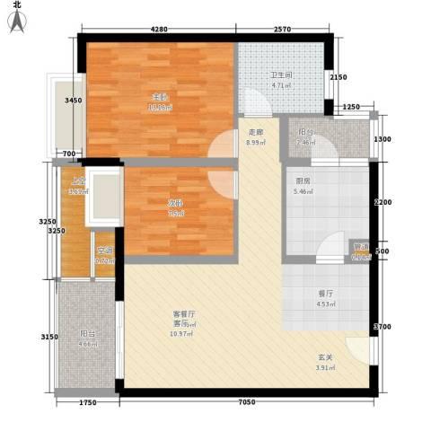 嘉信城市花园五期2室1厅1卫1厨90.00㎡户型图
