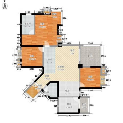 金元国际新城3室0厅2卫1厨136.00㎡户型图