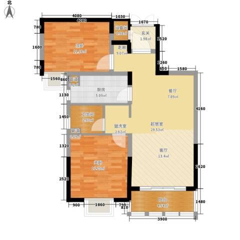 亚东观云国际公寓2室0厅1卫1厨81.00㎡户型图