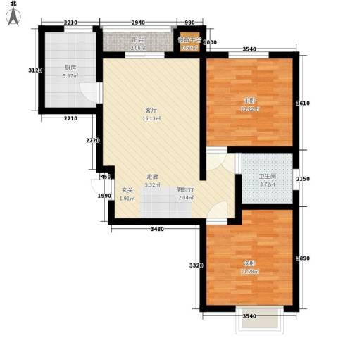 联合广场2室1厅1卫1厨125.00㎡户型图