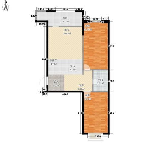 和平丽苑2室1厅1卫1厨110.00㎡户型图